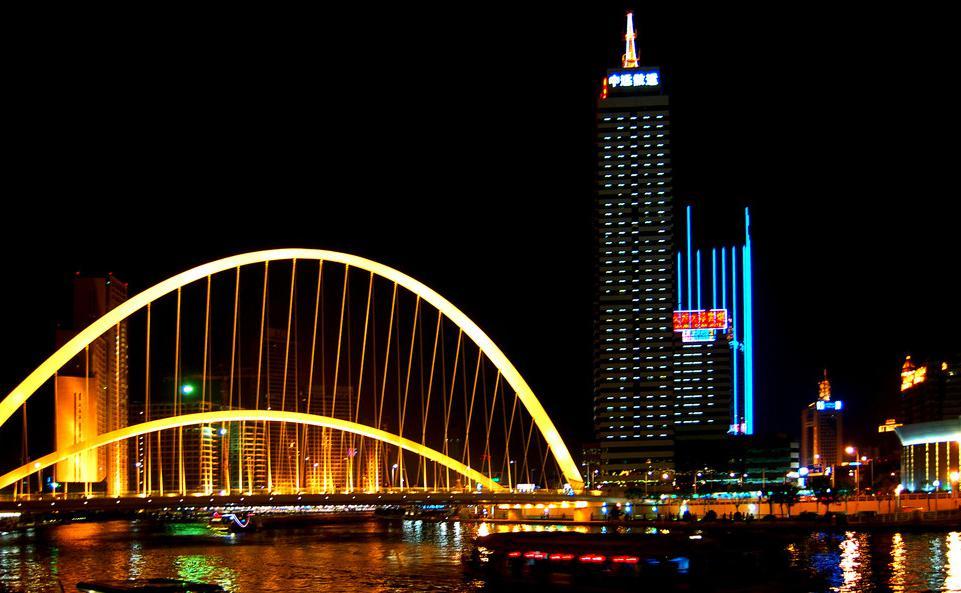 海河夜景灯光 天津的旅游名片