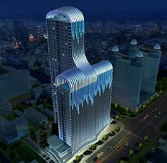 创智国际大厦楼体亮化:瀑布半天上,飞响落人间